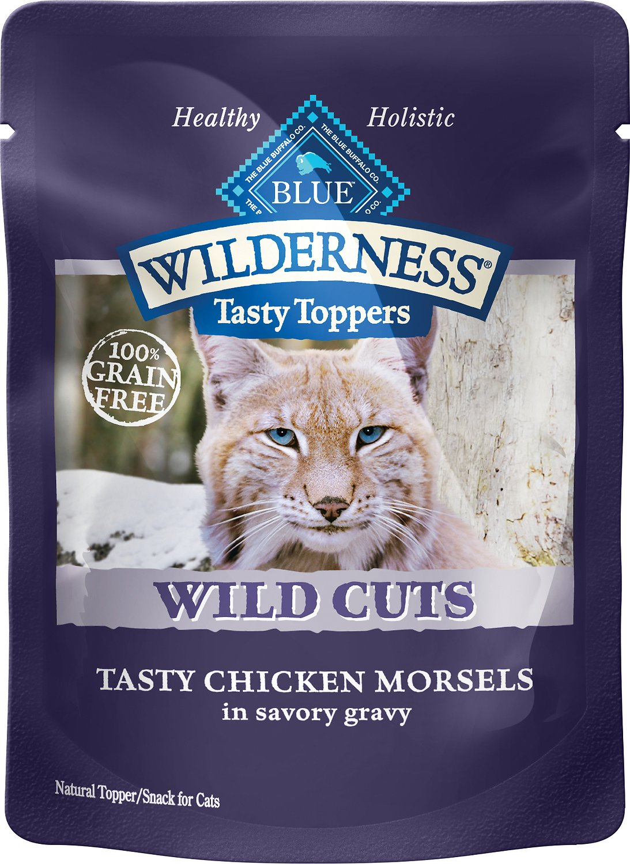 Blue Buffalo Wilderness Tasty Toppers Wild Cuts Tasty Chicken Morsels in Savory Gravy Grain-Free Cat Food Topper, 3-oz, case of 24