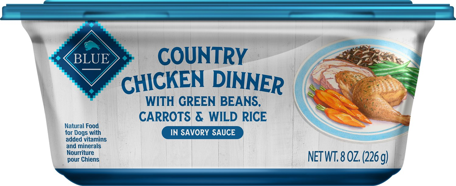 Blue Buffalo Country Chicken Dinner with Green Beans, Carrots & Wild Rice Dog Food Trays, 8-oz
