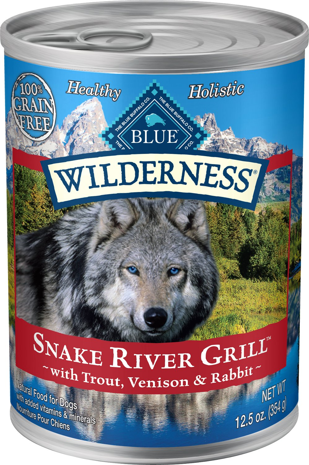 Blue Buffalo Wilderness Snake River Grill Trout, Venison & Rabbit Formula Grain-Free Canned Dog Food, 12.5-oz
