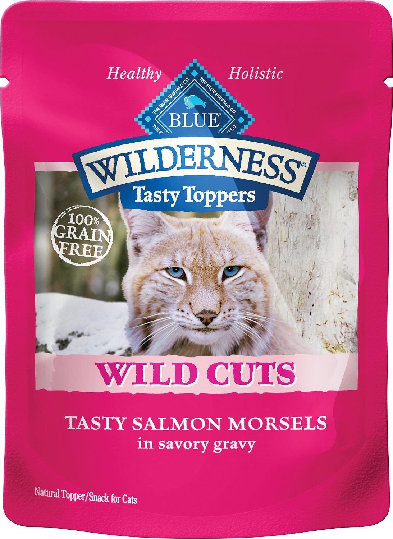 Blue Buffalo Wilderness Tasty Toppers Wild Cuts Tasty Salmon Morsels in Savory Gravy Grain-Free Cat Food Topper, 3-oz, case of 24