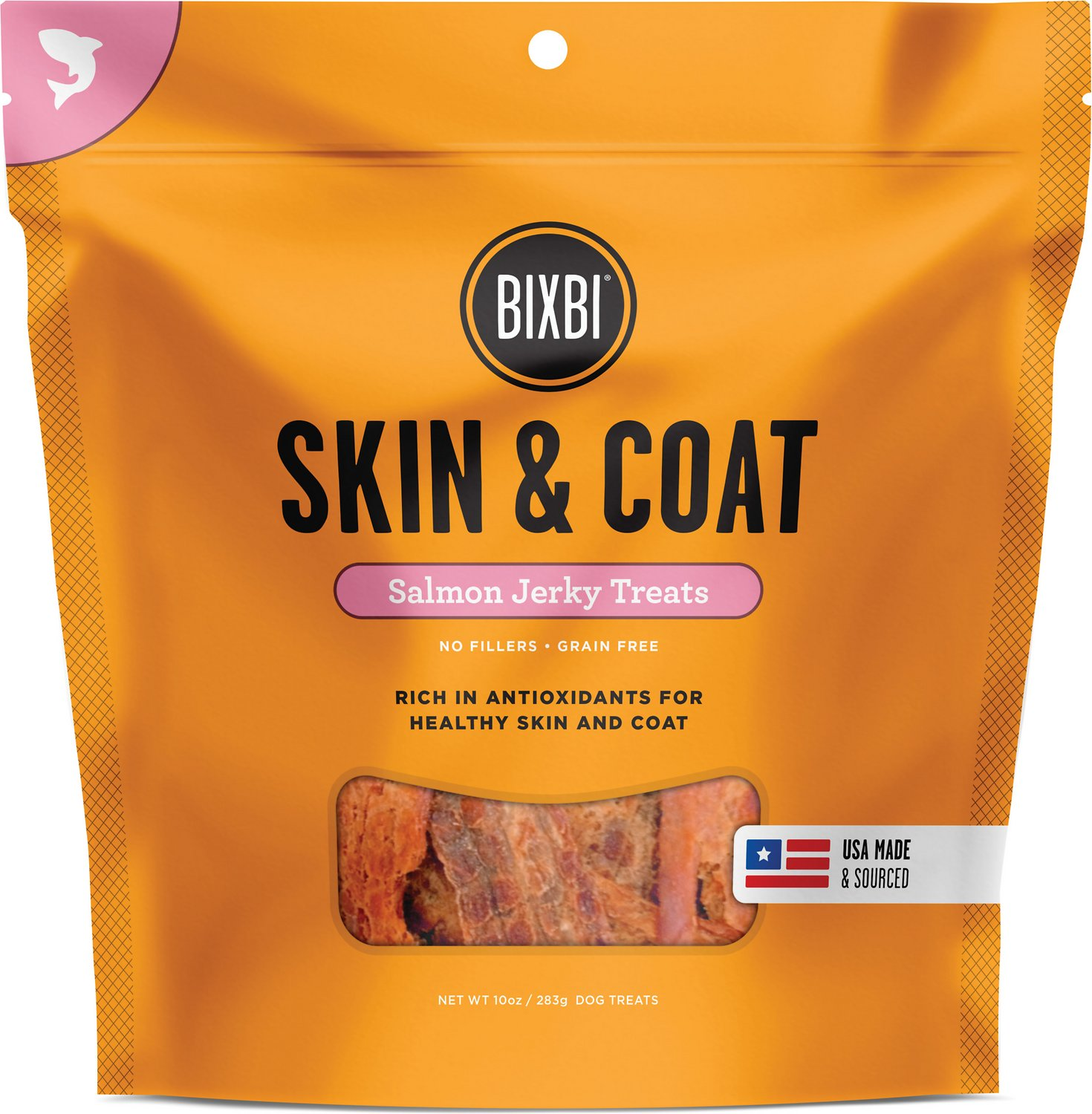 BIXBI Skin & Coat Salmon Jerky Dog Treats, 10-oz bag