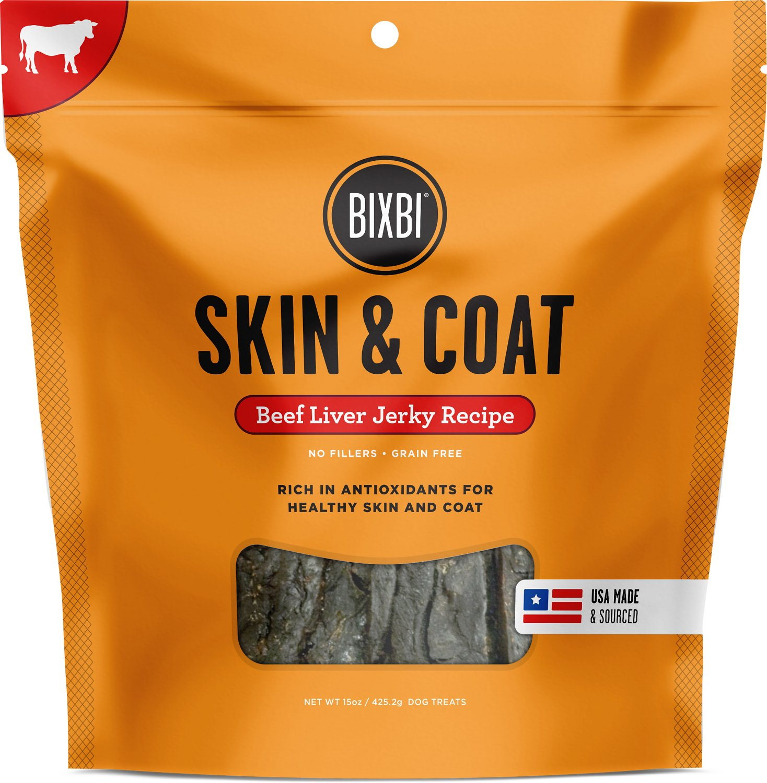 BIXBI Skin & Coat Beef Liver Jerky Dog Treats Image