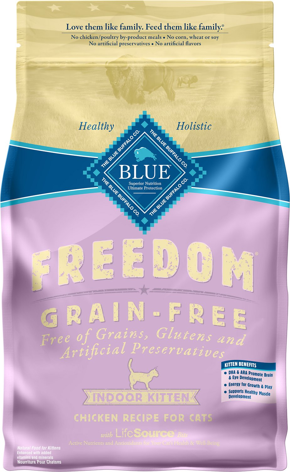 Blue Buffalo Freedom Indoor Kitten Chicken Recipe Grain-Free Dry Cat Food, 5-lb bag (Weights: 5.0 pounds) Image