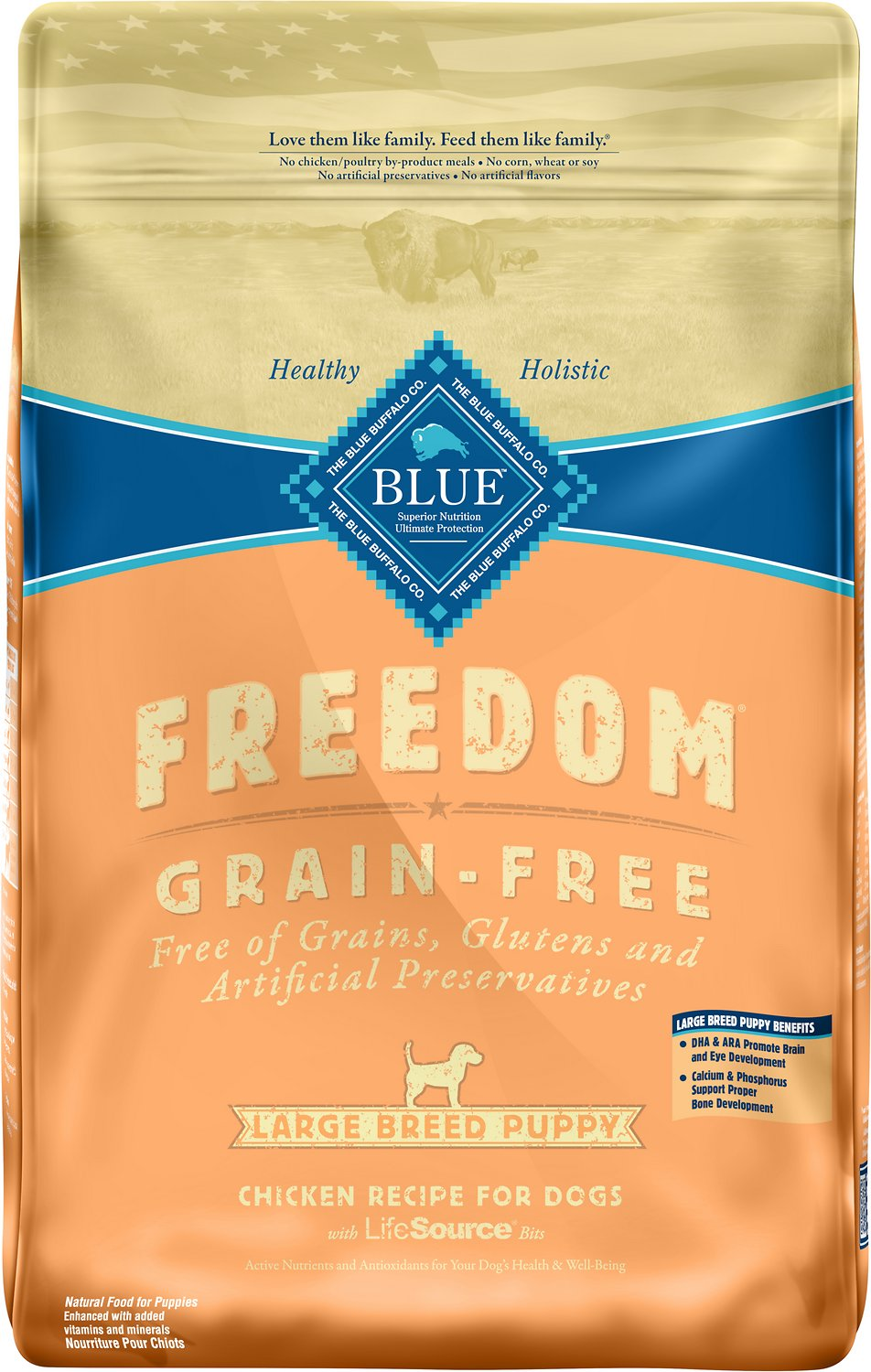 Blue Buffalo Freedom Large Breed Puppy Chicken Recipe Grain-Free Dry Dog Food, 24-lb bag (Weights: 24.0 pounds) Image