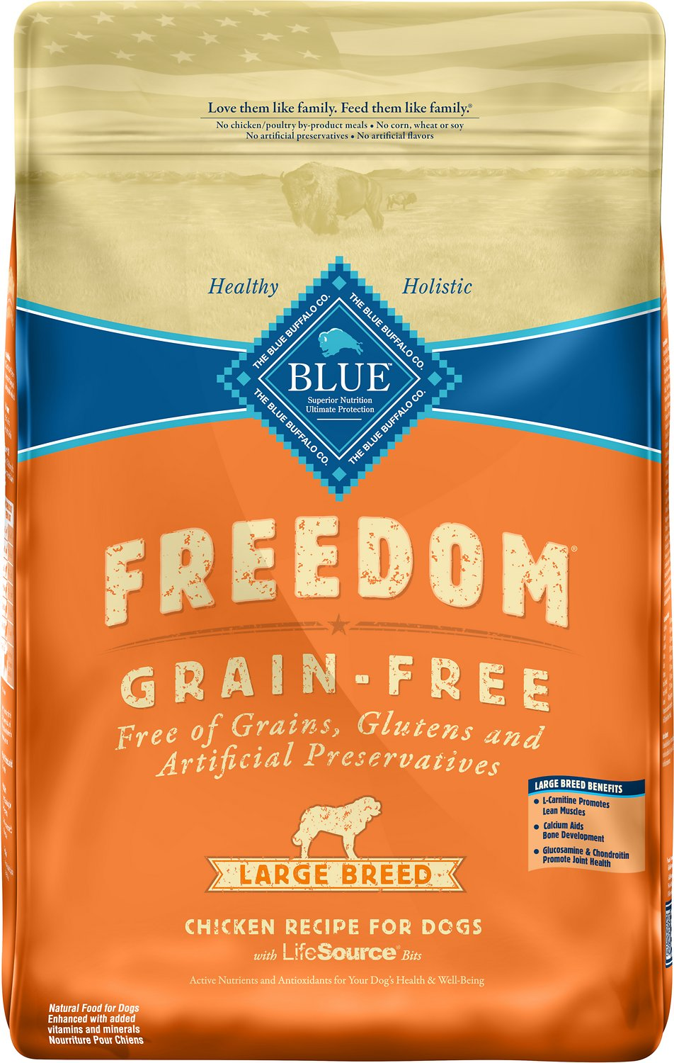 Blue Buffalo Freedom Large Breed Adult Chicken Recipe Grain-Free Dry Dog Food, 24-lb bag