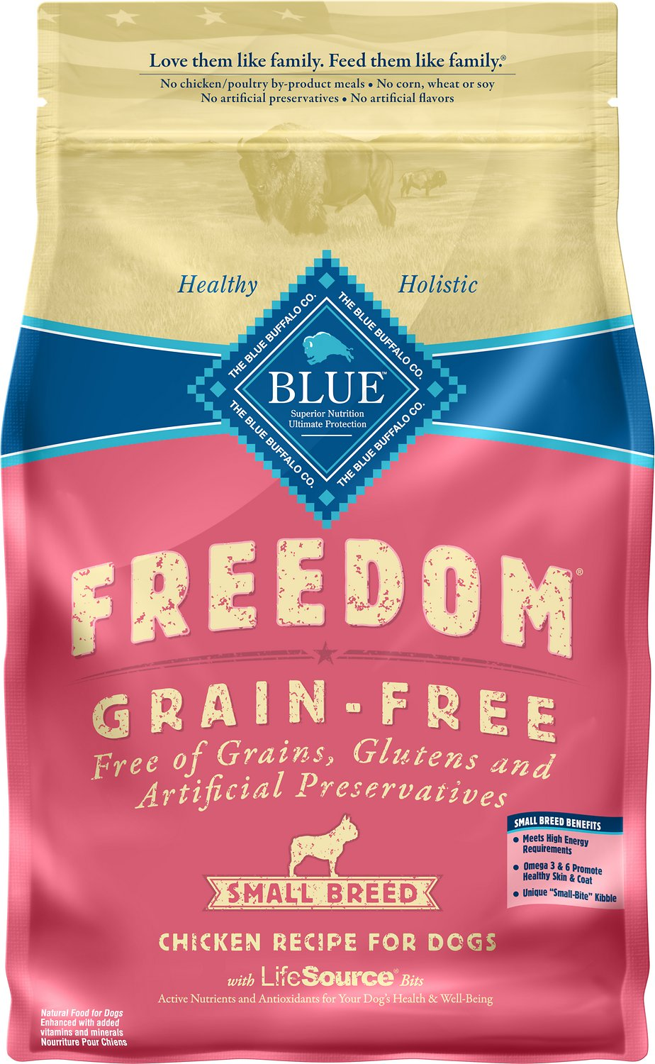 Blue Buffalo Freedom Small Breed Adult Chicken Recipe Grain-Free Dry Dog Food Image