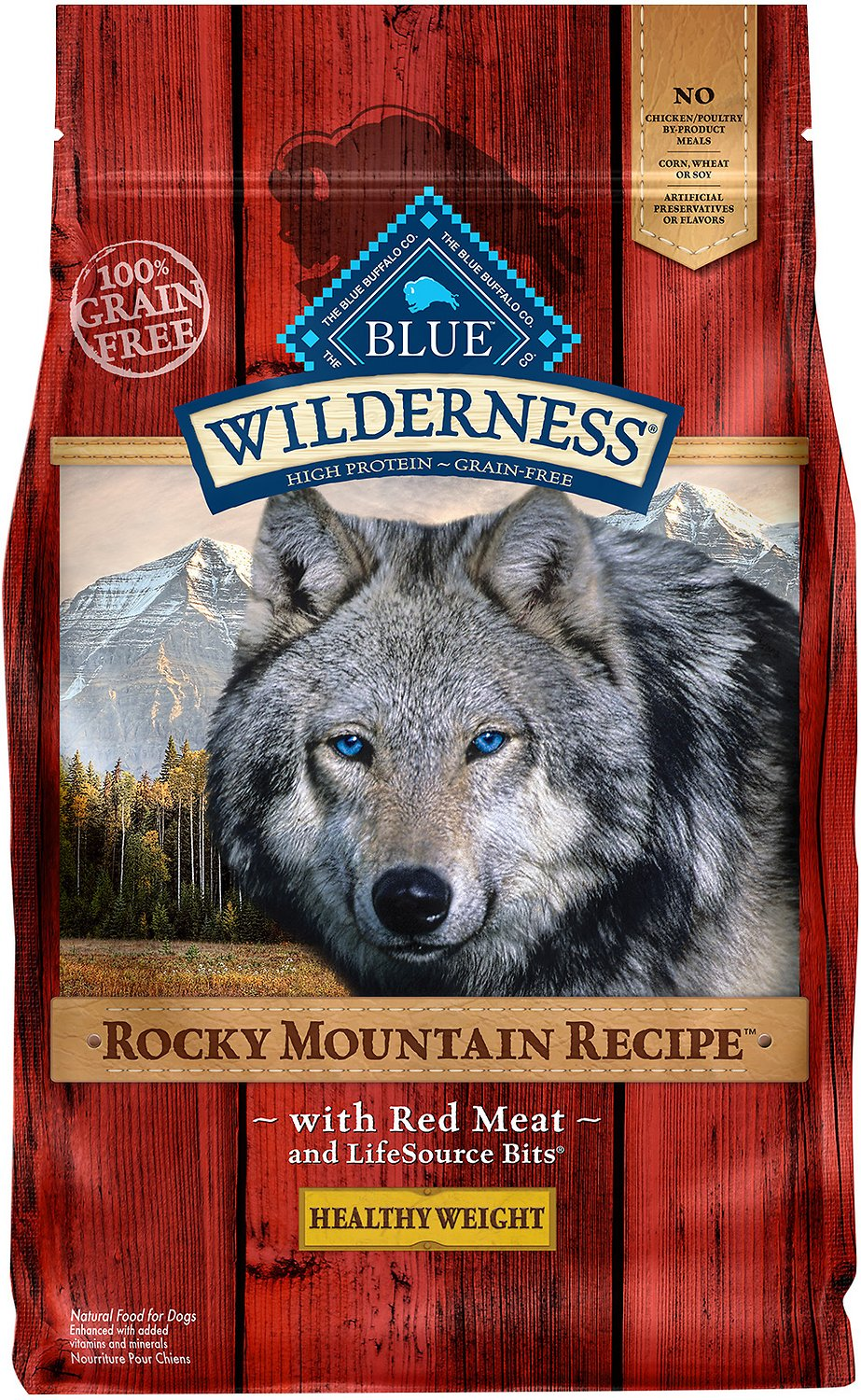 Blue Buffalo Wilderness Rocky Mountain Recipe with Red Meat Healthy Weight Grain-Free Dry Dog Food Image