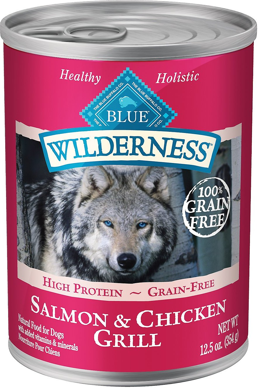 Blue Buffalo Wilderness Salmon & Chicken Grill Grain-Free Canned Dog Food, 12.5-oz