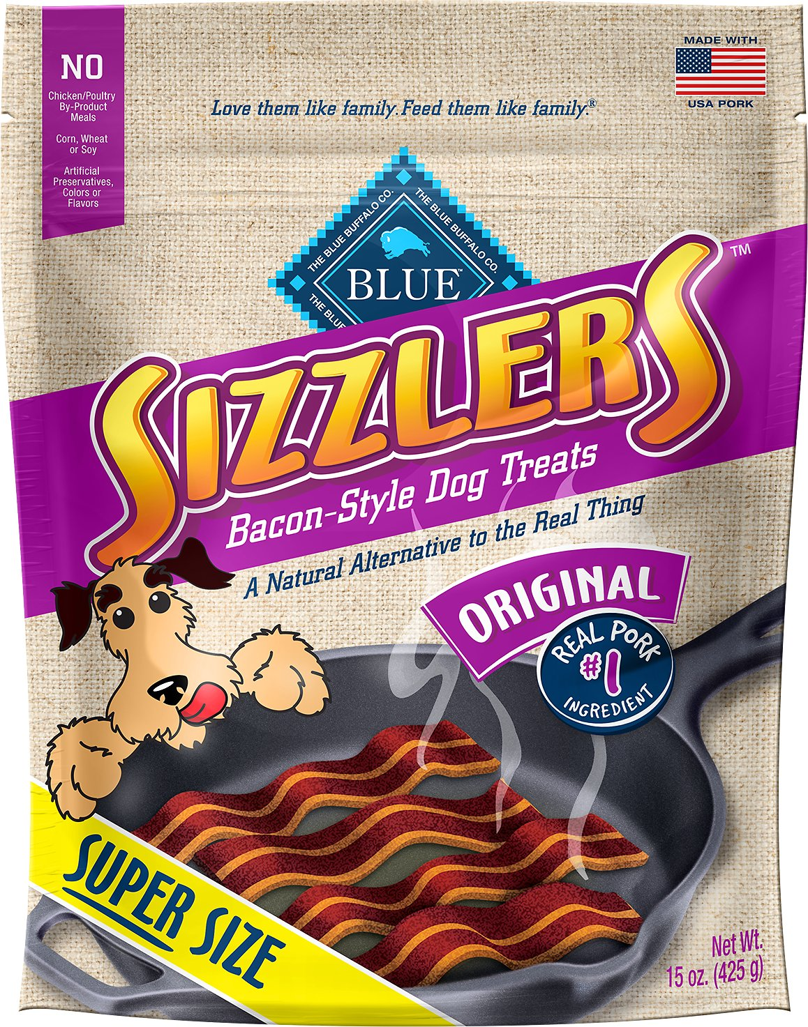 Blue Buffalo Sizzlers with Real Pork Bacon-Style Dog Treats Image