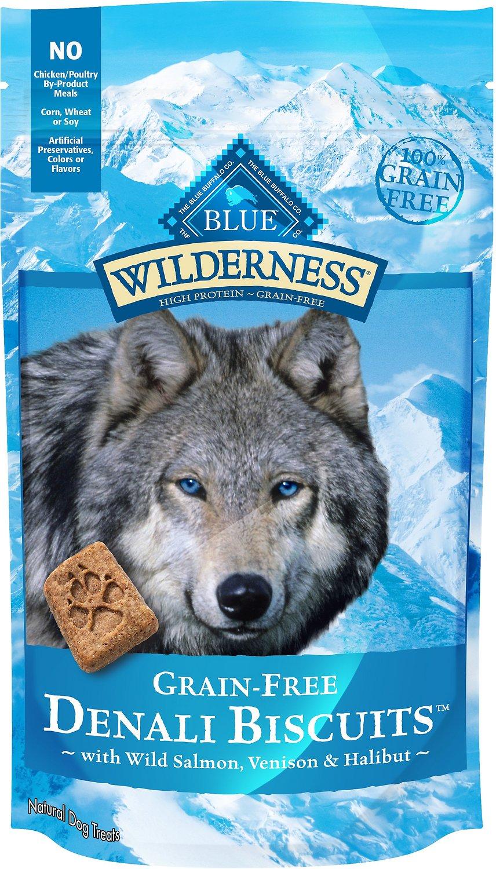 Blue Buffalo Wilderness Denali Biscuits with Wild Salmon, Venison & Halibut Grain-Free Dog Treats, 8-oz bag