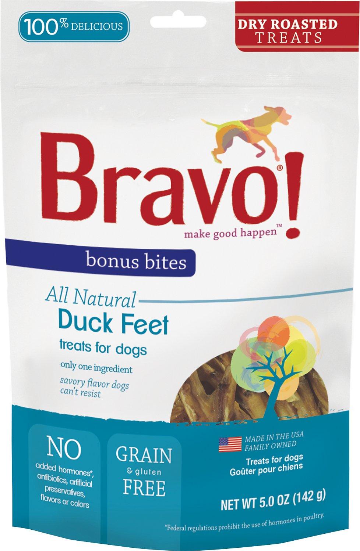 Bravo! Bonus Bites Duck Feet Dry-Roasted Dog Treats, 5-oz