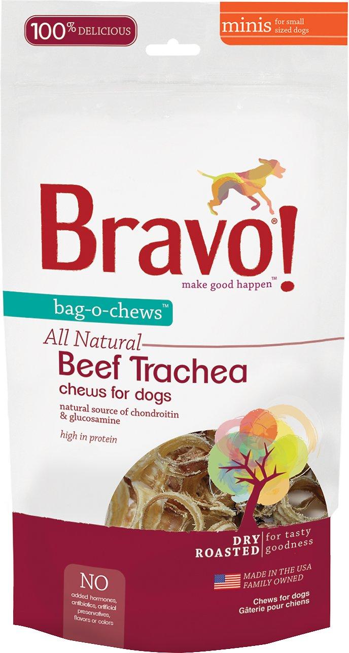 Bravo! Bag-O-Chews Beef Trachea Minis Dry-Roasted Dog Treats, 7-oz bag