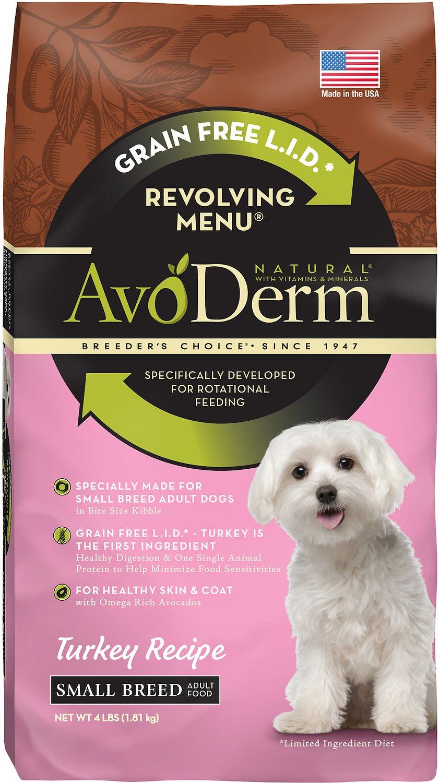 AvoDerm Natural Grain-Free Revolving Menu Small Breed Turkey Recipe Adult Dry Dog Food, 4-lb bag