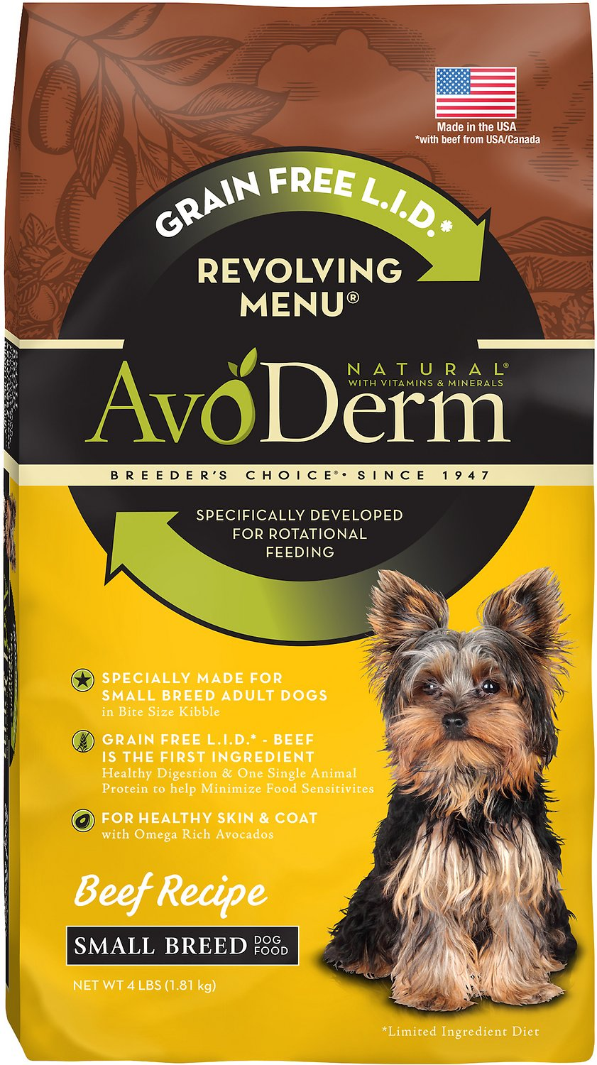 AvoDerm Natural Grain-Free Revolving Menu Small Breed Beef Recipe Adult Dry Dog Food, 4-lb bag (Weights: 4.0 pounds) Image