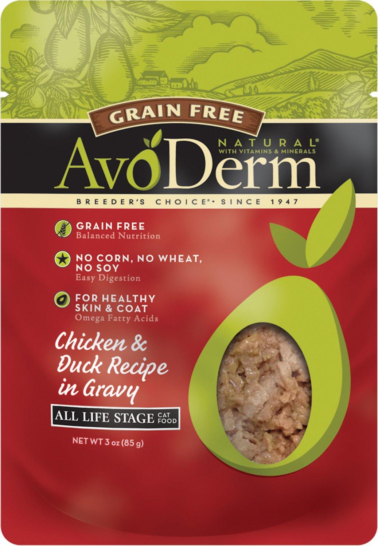 AvoDerm Natural Grain-Free Chicken & Duck Recipe in Gravy Cat Food Pouches, 3-oz
