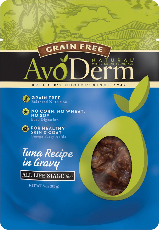 AvoDerm Natural Grain-Free Tuna Recipe in Gravy Cat Food Pouches, 3-oz