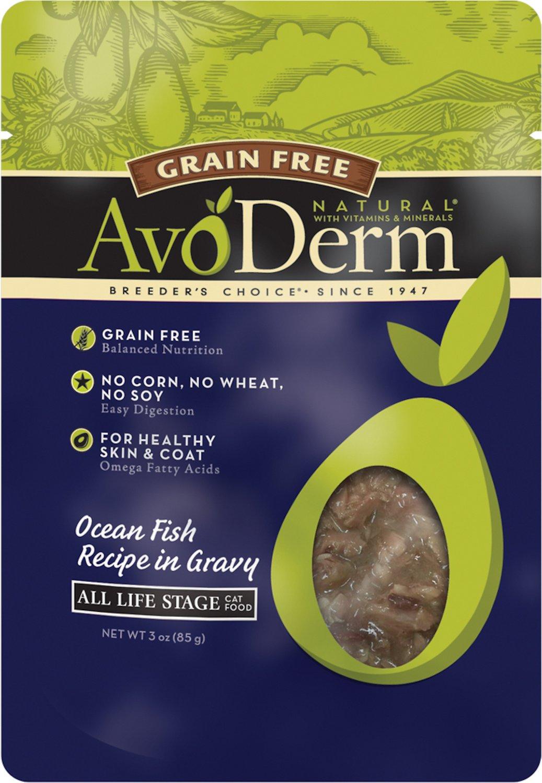 AvoDerm Natural Grain-Free Ocean Fish Recipe in Gravy Cat Food Pouches, 3-oz