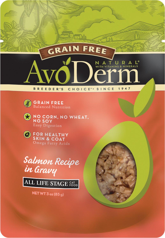 AvoDerm Natural Grain-Free Salmon Recipe in Gravy Cat Food Pouches, 3-oz