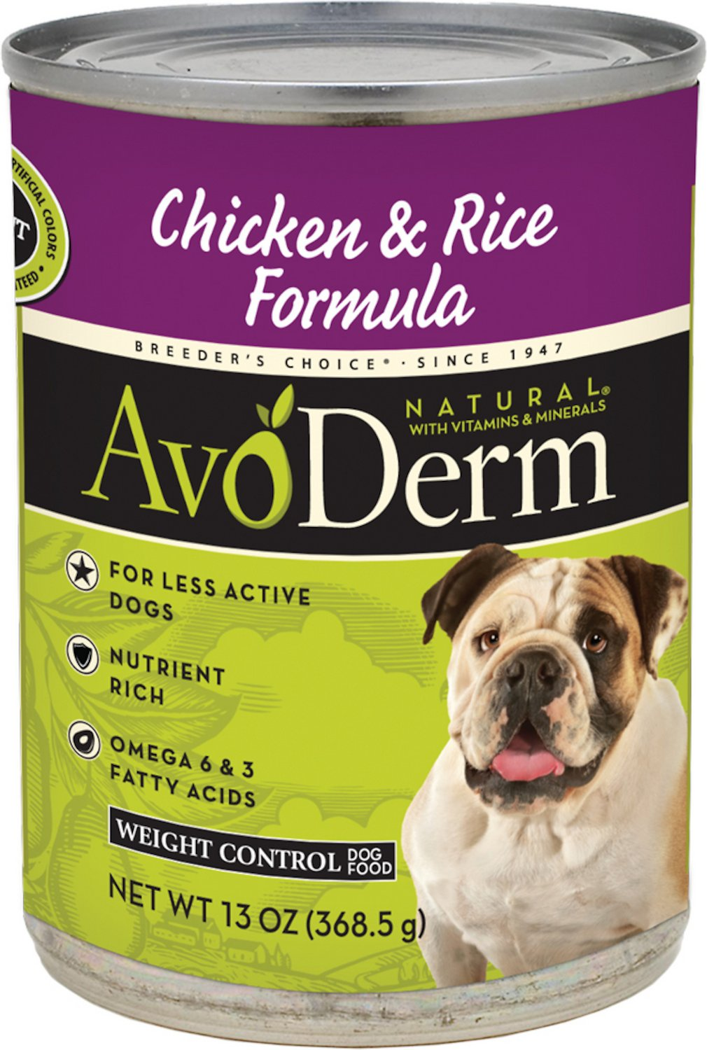 AvoDerm Natural Rice & Chicken Formula Weight Control Canned Dog Food, 13-oz