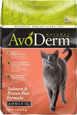 AvoDerm Natural Salmon & Brown Rice Formula Adult Dry Cat Food, 11-lb bag