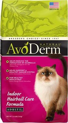 AvoDerm Natural Indoor Hairball Care Formula Adult Dry Cat Food, 3.5-lb bag