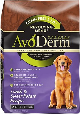AvoDerm Natural Grain-Free Revolving Menu Lamb & Sweet Potato Recipe Adult Dry Dog Food, 22-lb bag