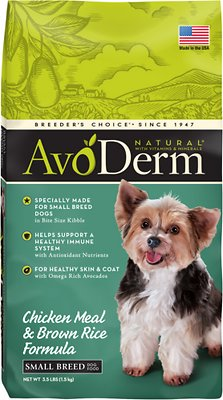 AvoDerm Natural Chicken Meal & Brown Rice Formula Small Breed Adult Dry Dog Food, 3.5-lb bag