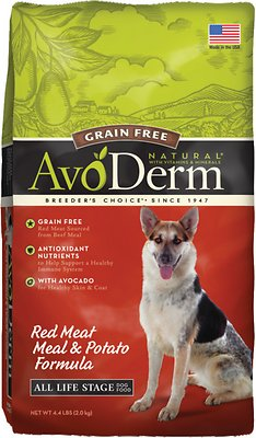 AvoDerm Natural Grain-Free Red Meat Meal & Potato Formula All Life Stages Dry Dog Food, 4.4-lb bag