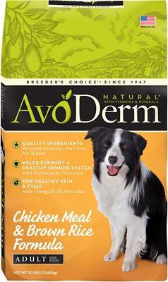AvoDerm Natural Chicken Meal & Brown Rice Formula Adult Dry Dog Food, 30-lb