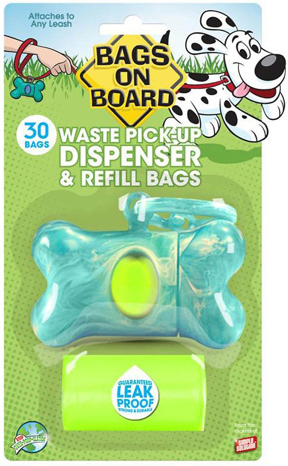 Bags on Board Bone Dispenser, Turquoise Marble, 1 dispenser, 30 bags Image