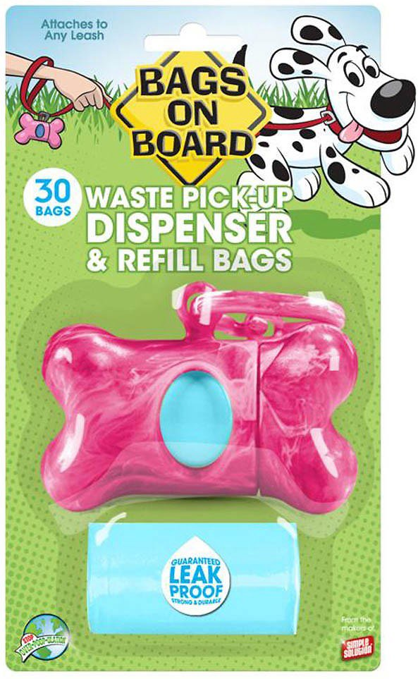 Bags on Board Bone Dispenser, Pink Marble, 1 dispenser, 30 bags Image
