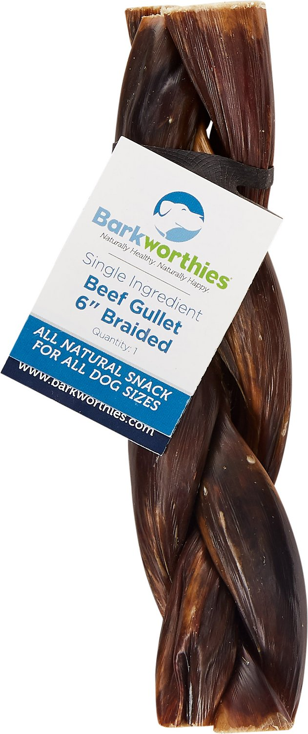 Barkworthies Braided Beef Gullet Dog Treats, 6-in Image