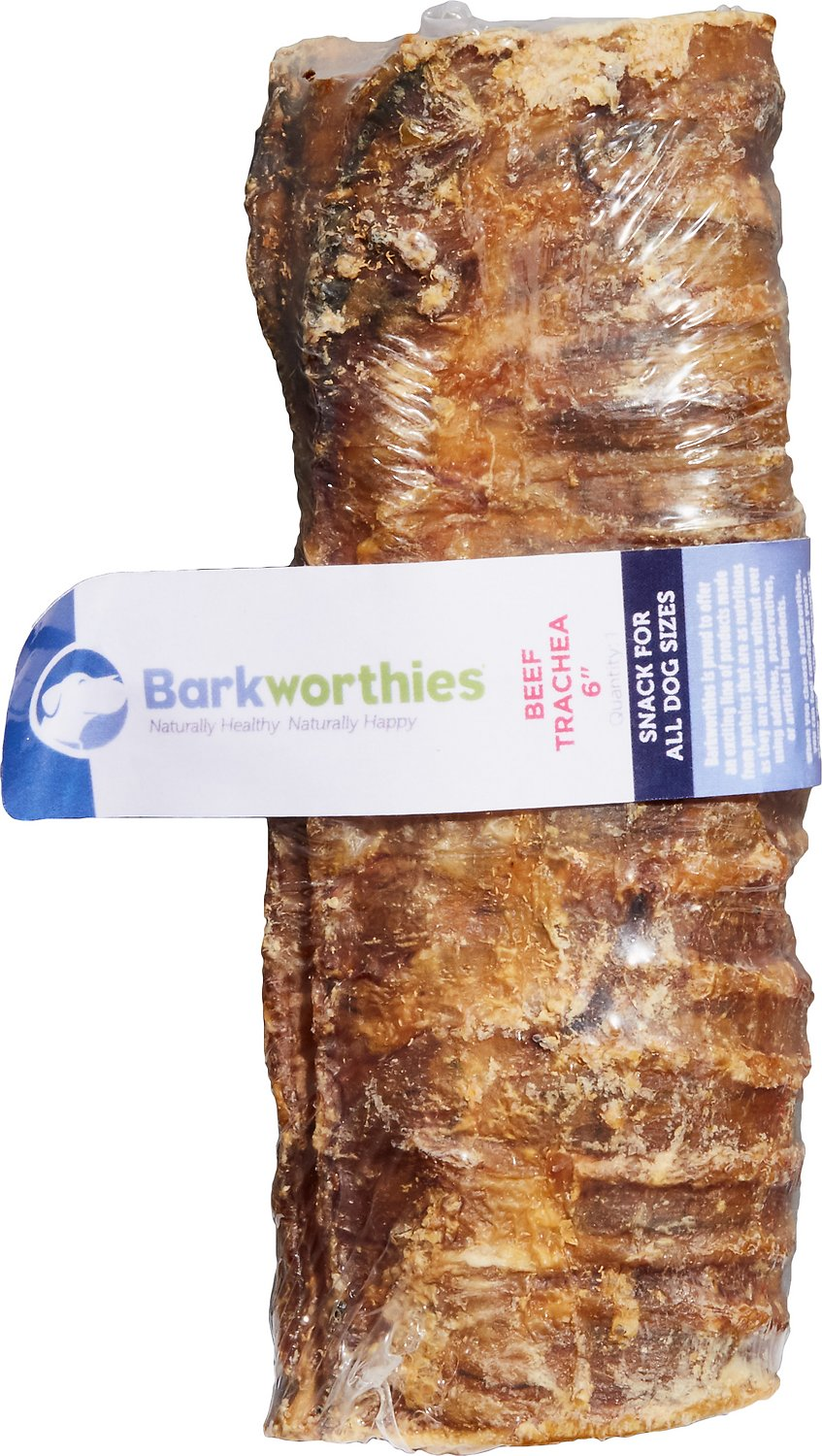 Barkworthies Beef Trachea Dog Treats, 6-in Image