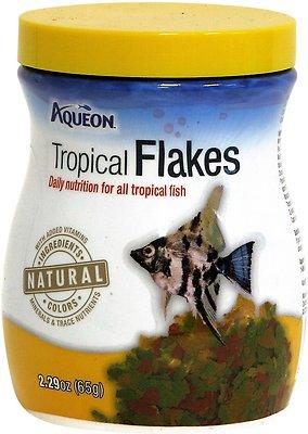 Aqueon Tropical Flakes Freshwater Fish Food, 2.29-oz jar