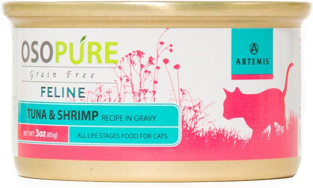 Artemis Osopure Tuna & Shrimp Recipe in Gravy Grain-Free Canned Cat Food, 3-oz, case of 24