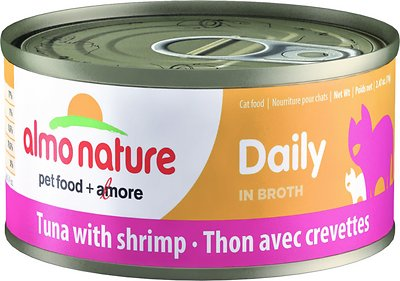 Almo Nature Daily Tuna with Shrimp in Broth Grain-Free Wet Cat Food, 2.47-oz, case of 24
