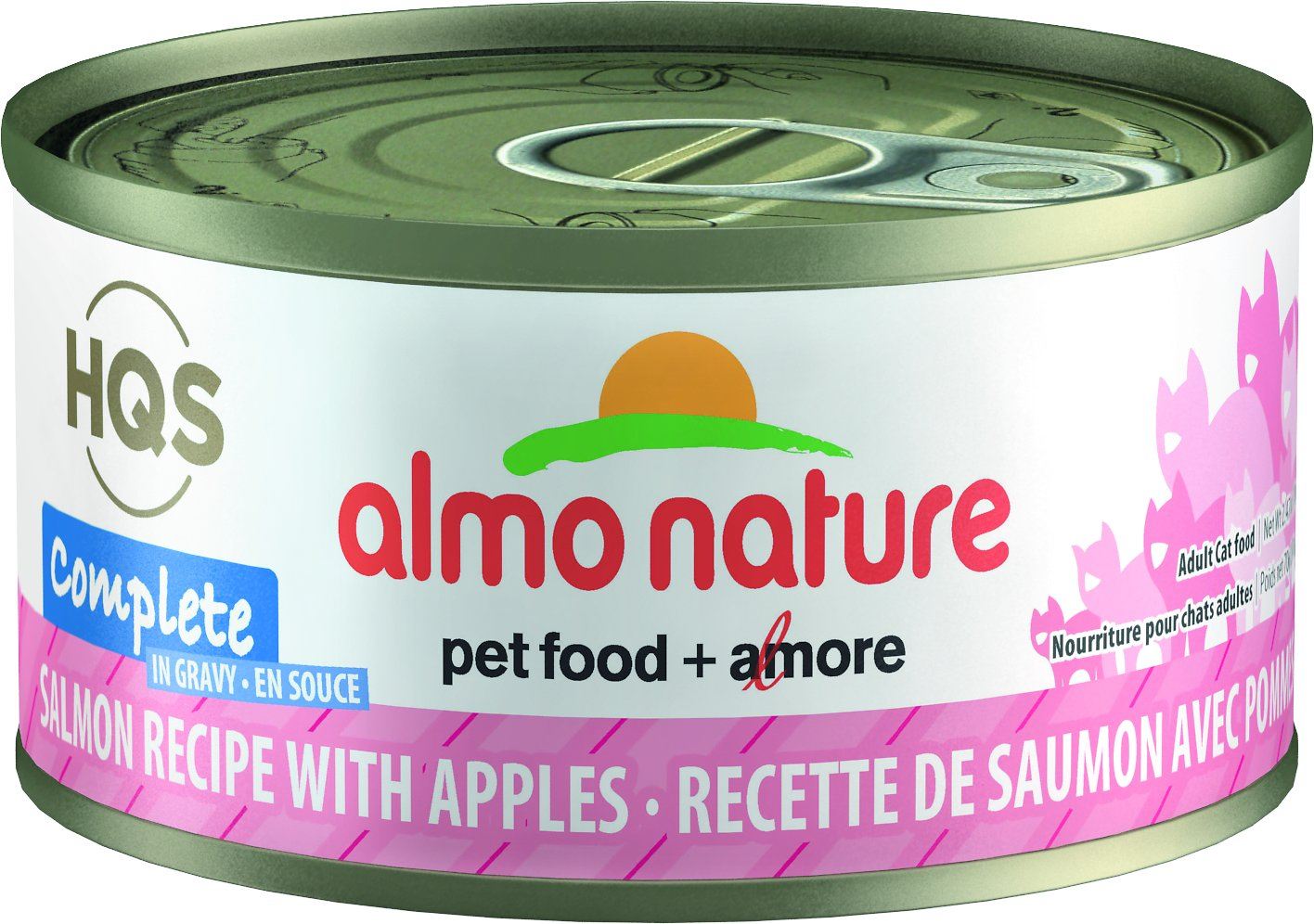 Almo Nature HQS Complete Salmon Recipe with Apples Grain-Free Canned Cat Food, 2.47-oz