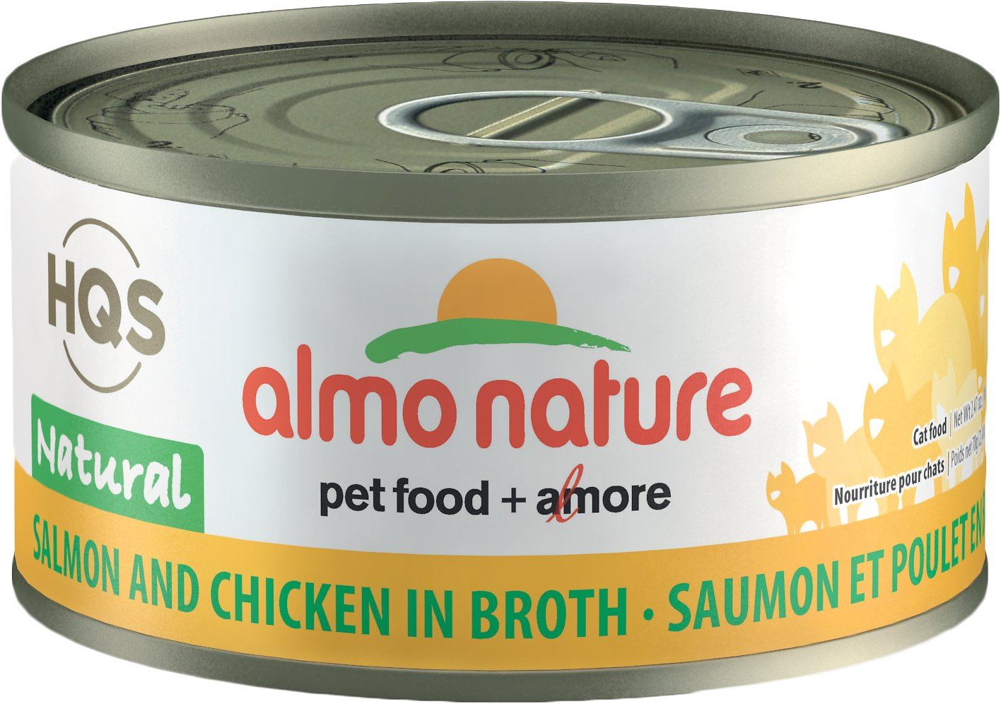 Almo Nature HQS Natural Salmon & Chicken in Broth Grain-Free Canned Cat Food, 2.47-oz