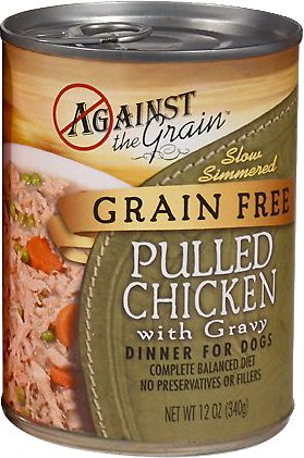 Against the Grain Hand Pulled Chicken with Gravy Dinner Grain-Free Canned Dog Food Image