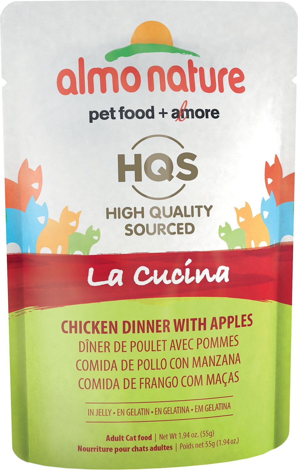 Almo Nature HQS La Cucina Chicken with Apple Grain-Free Wet Cat Food, 1.94 oz, case of 24