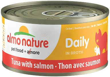 Almo Nature Daily Tuna with Salmon in Broth Grain-Free Wet Cat Food, 2.47-oz