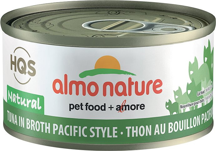 Almo Nature HQS Natural Tuna in Broth Pacific Style Grain-Free Wet Cat Food, 2.47-oz, case of 24