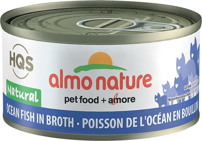 Almo Nature HQS Natural Ocean Fish in Broth Grain-Free Wet Cat Food, 2.47-oz