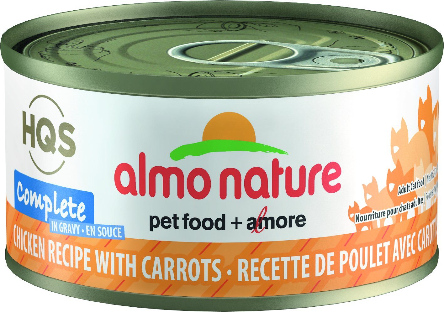 Almo Nature HQS Complete Chicken Recipe with Carrots Grain-Free Canned Cat Food, 2.47-oz