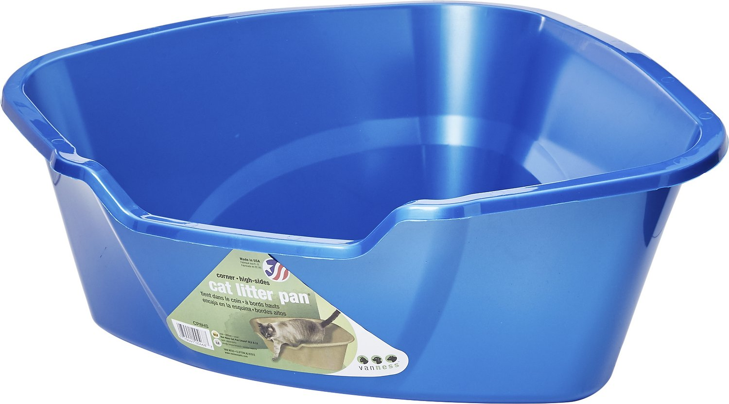Van Ness High Side Corner Cat Litter Pan, Blue Image