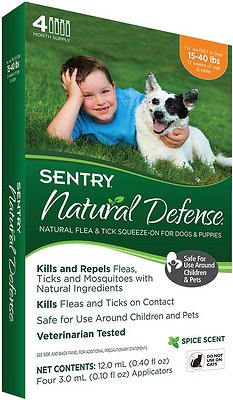 Sentry Natural Defense Flea & Tick Squeeze-On for Dogs, 15-40-lbs
