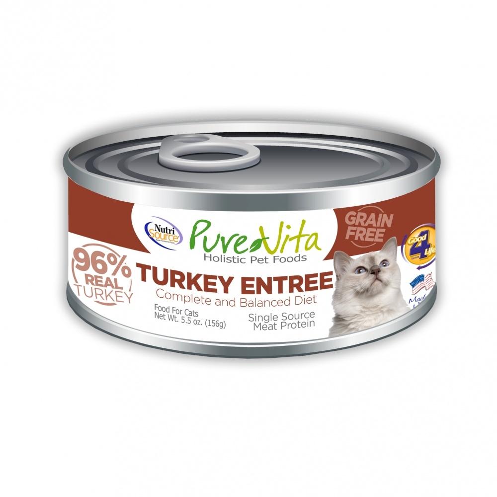 PureVita Grain Free 96% Real Turkey Entree Canned Cat Food, 5.5-oz