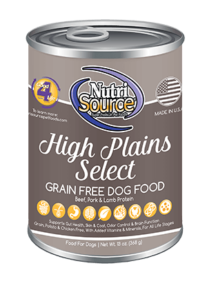 NutriSource Grain Free High Plains Select Canned Dog Food, 13-oz
