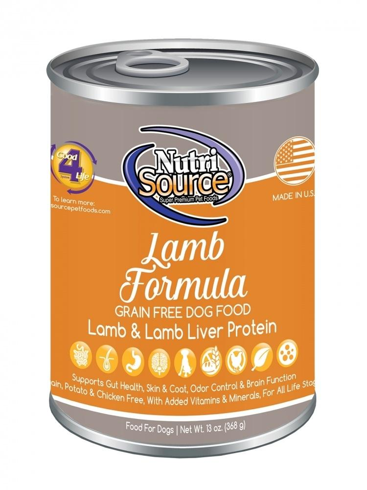 NutriSource Grain Free Lamb Formula Canned Dog Food, 13-oz