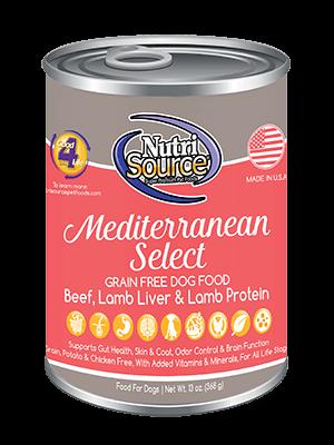 NutriSource Grain Free Mediterranean Blend Canned Dog Food, 13-oz